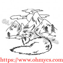 Mountain Fox Sketch Embroidery Design