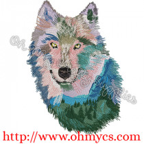 Mountain Scenic Wolf Face Embroidery Design