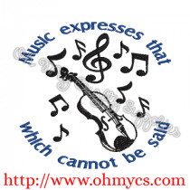 Musical Expression Violin Embroidery Design