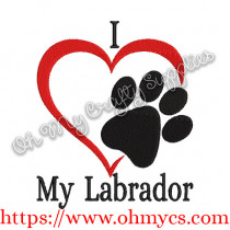 I Heart My Labrador Embroidery Design
