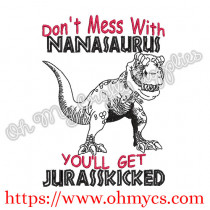 Nanasaurus Embroidery Design