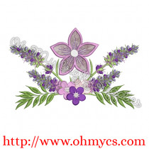 4 Flower Floral Embroidery Design