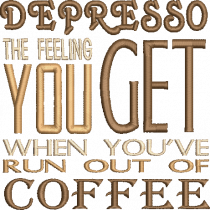 Depresso Coffee Embroidery Design