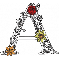 Floral Letter A Embroidery Design