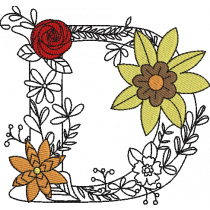 Floral Letter D Embroidery Design
