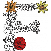 Floral Letter F Embroidery Design