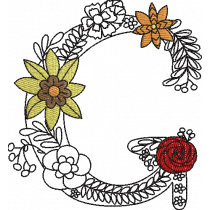 Floral Letter G Embroidery Design