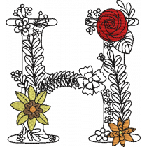 Floral Letter H Embroidery Design