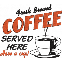 Fresh Brewed Coffee Embroidery Design