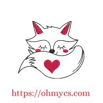 Lovely Sleeping Fox Embroidery Design