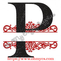 P Split Letter Embroidery Design