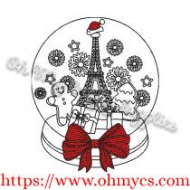 Paris Snow Globe Embroidery Design