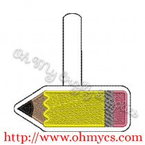 ITH Pencil Key Fob Embroidery Design