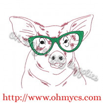 Pig Sketch with Glasses Embroidery Design