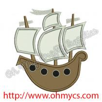 Pirate Ship Applique Design