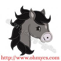 Pony Head Applique Design