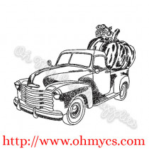 Pumpkin Truck Sketch Embroidery Design