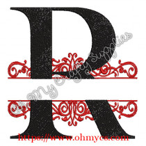 R Split Letter Embroidery Design