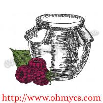 Raspberry Jam Jar Embroidery Design