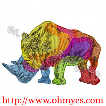 Rainbow Rhino Embroidery Design