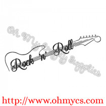 Rock 'n' Roll Guitar Embroidery Design