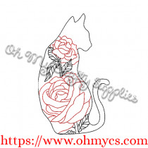 Rose Cat Embroidery Design