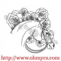 Sketch Horse with Roses Embroidery Design