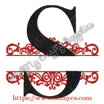 S Split Letter Embroidery Design