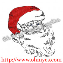Sketch Santa Claus Embroidery Design