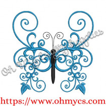 Satin Wing Butterfly Embroidery Design