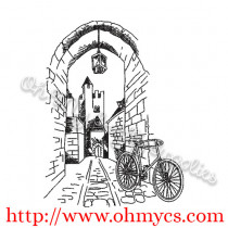 Scenic Street with Bike Sketch Embroidery Design
