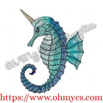 Sea Horse Unicorn Embroidery Design