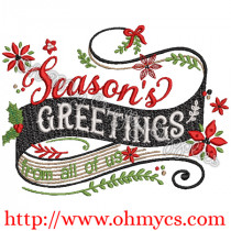 Season's Greetings from all of us Embroidery Design