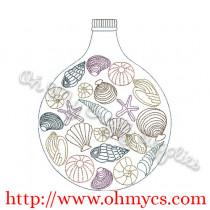 Seashell Bottle Embroidery Design