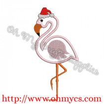 A Santa Flamingo Applique