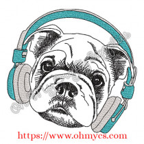 Sketch Shar Pei with Headphones Embroidery Design