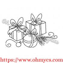 Simple Cute Present Embroidery Design