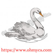 Sketch Single Swan Embroidery Design