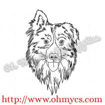Sketch Australian Shepard Embroidery Design