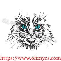 Sketch Cat Face Embroidery Design