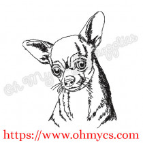 Sketch Chihuahua Head Embroidery Design