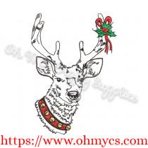 Sketch Christmas Reindeer Embroidery Design