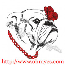 Sketch Dog with Butterfly Embroidery Design