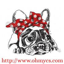Sketch Headband French Bulldog Embroidery Design