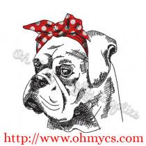Sketch Headband Boxer/Bulldog Embroidery Design