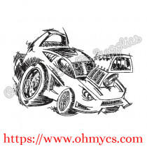 Sketch Hot Rod Embroidery Design