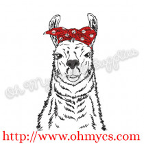 Sketch Llama with Headband Embroidery Design