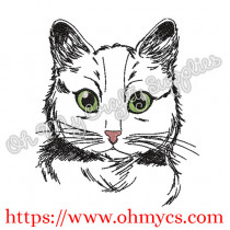 Sketch Meow Cat Embroidery Design