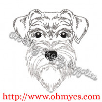 Sketch of Schnauzer Embroidery Design