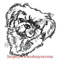 Sketch Pekingese Embroidery Design